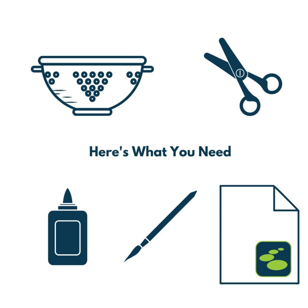 Materials: Collander, scissors, glue, paint brush, paper