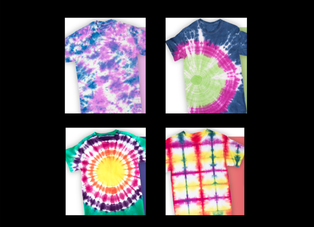 4 tie-dyed shirts with different patterns