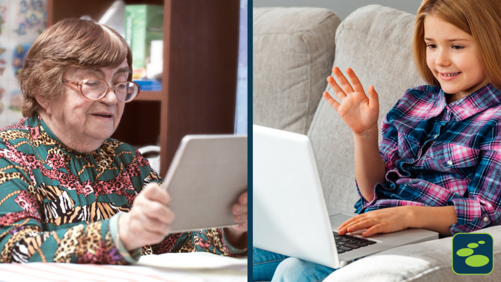 An older adult and child video conference on computer and tablet