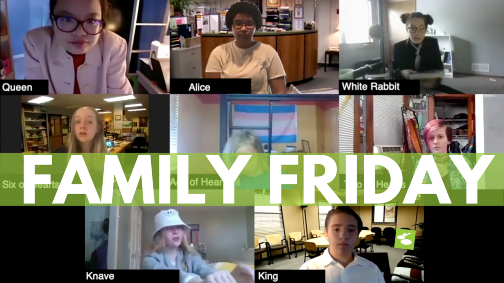 """Teens perform a Zoom version of Alice and Wonderland with """"Family Friday"""" overlaid"""